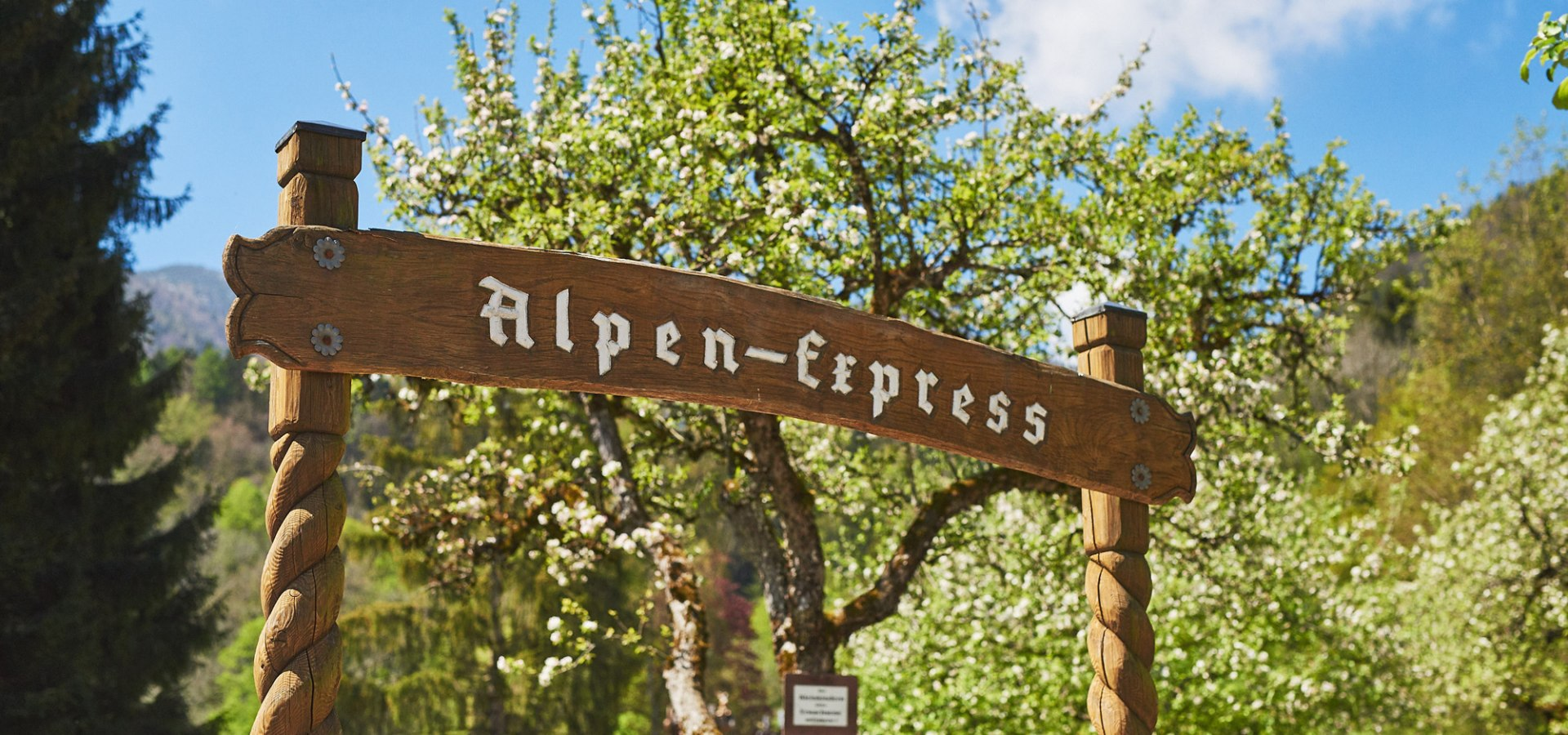 "Park Train ""Alpen-Express"" leaves the station every 10 minutes"