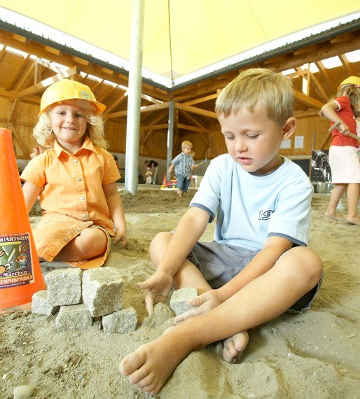 The covered children's construction zone is one of our many all-weather attractions